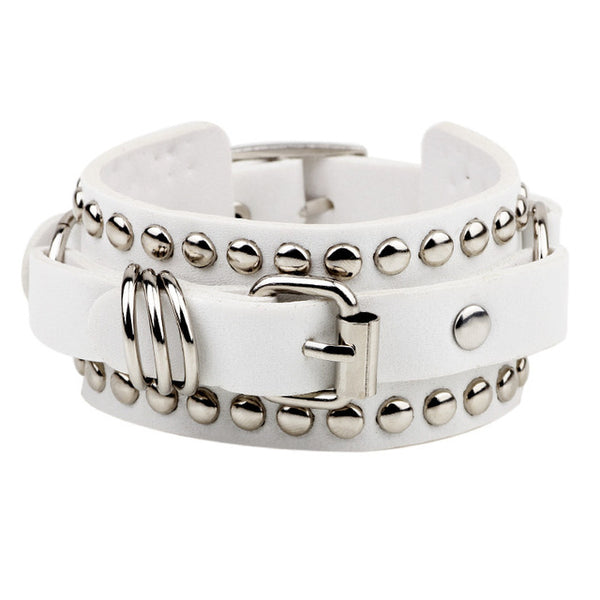 Studded Wrist Cuff Bracelet in White
