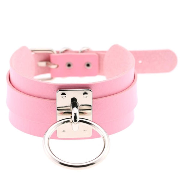 Oversized Leather Choker in Pink