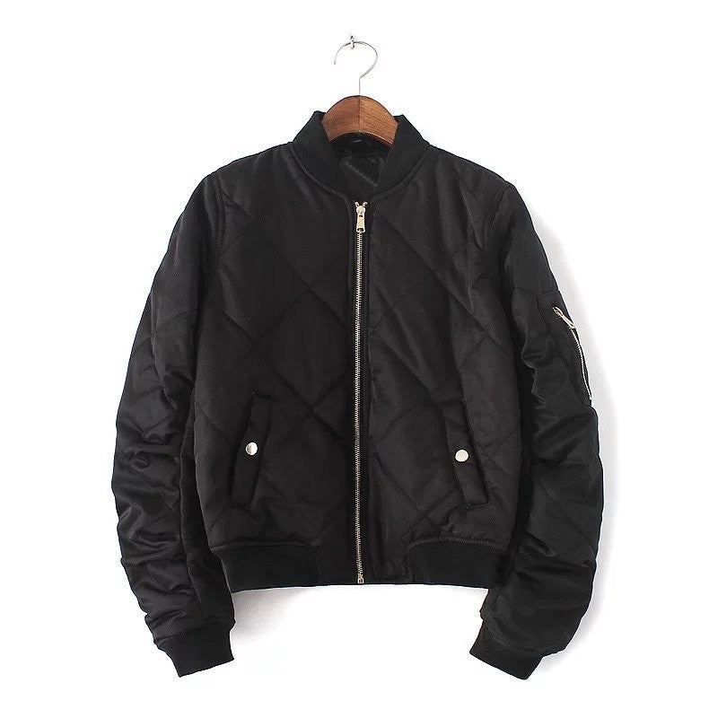 Quilted Bomber Jacket in Black