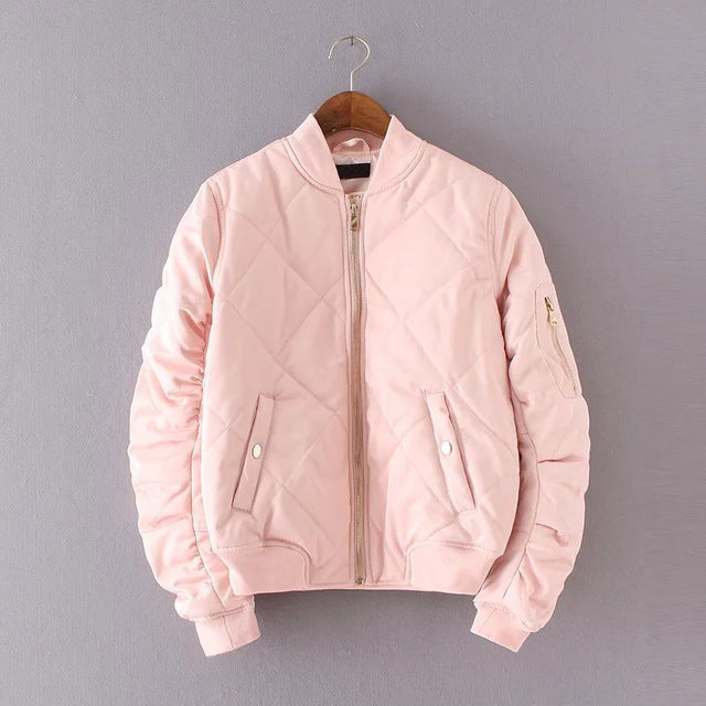 Quilted Bomber Jacket in Pink