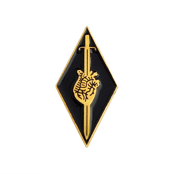 The Pierced Heart Enamel Pin in Gold