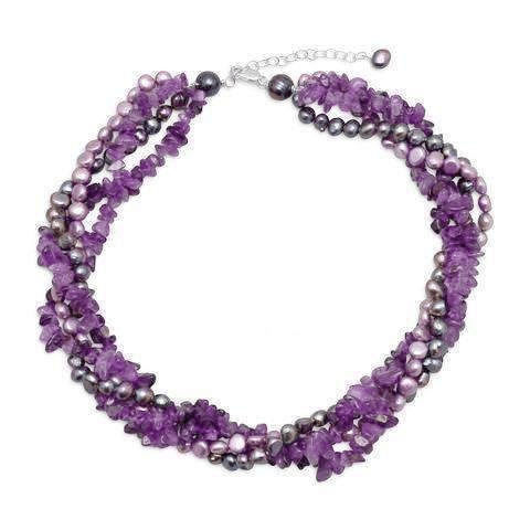 Freshwater Pearls with Sugilite Crystals Necklace