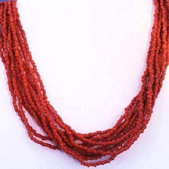 Red Coral Necklace and Earings Multi Strand Set