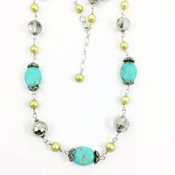 Golden Freshwater Pearls Crystals Turquoise Wired Necklace