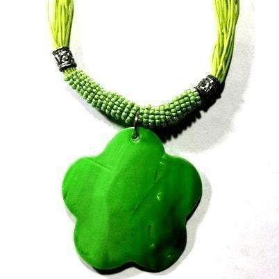 Lime Clover Pendant Handcrafted Necklace Handcrafted