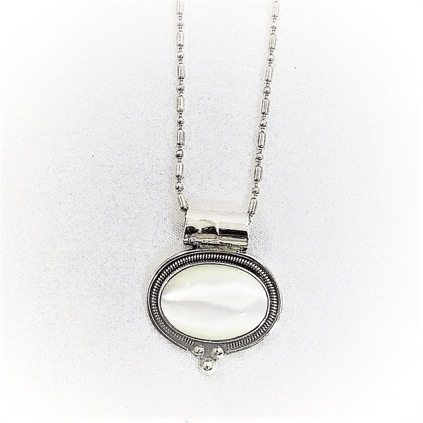 Mother of Pearl Pendant Necklace on Ball Chain