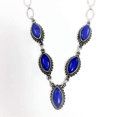 Sterling Silver Lapis Faceted Stone Necklace Vintage