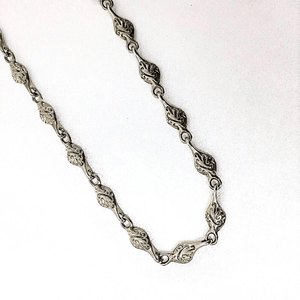 Unique Sterling Silver Necklace-Embossed Link Chain