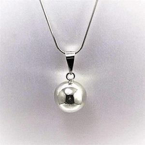 Large Sterling Silver Ball Pendant Unique Set