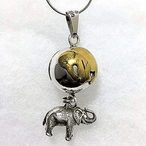 Elephant Pendant Ball Necklace in Sterling Silver