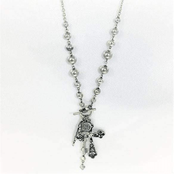 Silver Cross Necklace with Angelical Gadgets