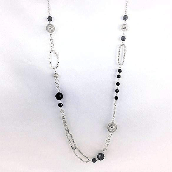 Long Silver and Black Bead Chain Necklace