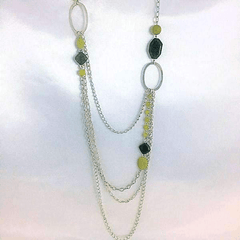 Long Silver Chain- Green Jasper and Serpentine Beads
