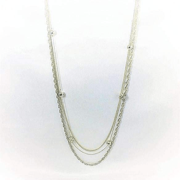 Long Necklace with Round Multi Style Chain Beads