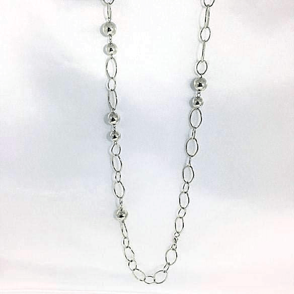 Long Silver Necklace Oval Shape LInk Chain Beads