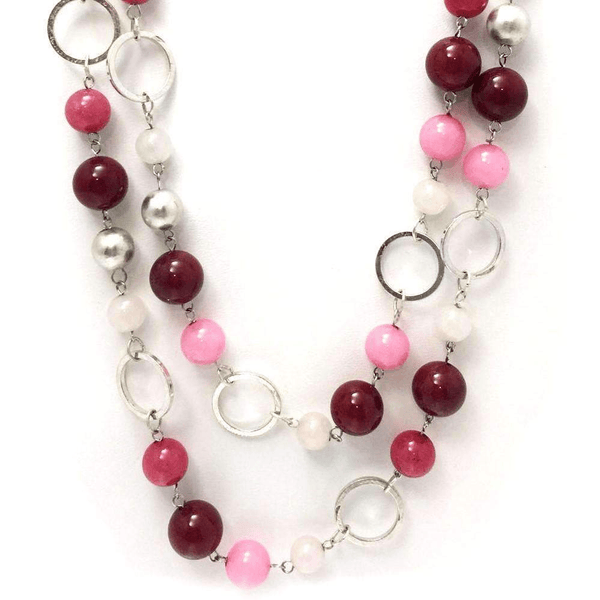 Long Multicolor Bead Necklace Set and Earrings