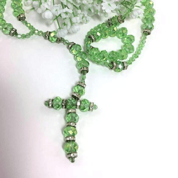 Long Apple Green Necklace Austrian Crystal with Cross
