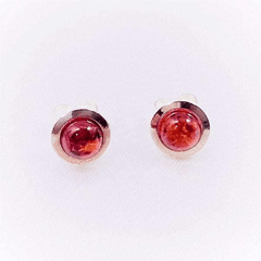 Genuine Amber Stone Sterling Silver Stud Earrings
