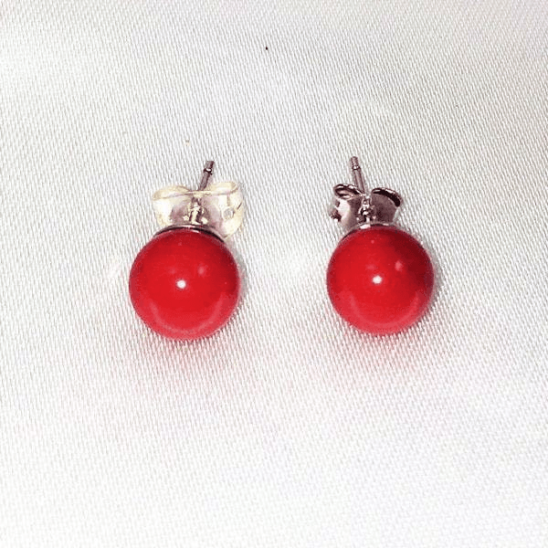 Coral Sterling Silver Round Ball Stud Earrings