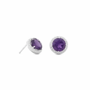 Shop for a Set of Amethyst Spritzer CZ Stud Earrings