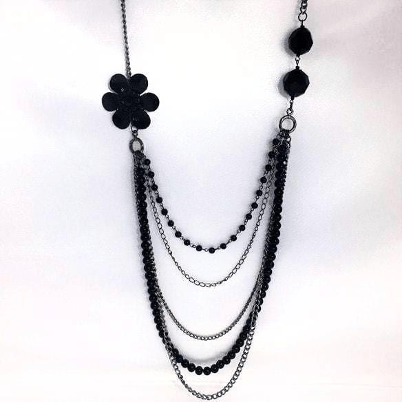 Black Long Necklace Flower and Beads Curve Style