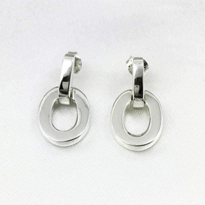 Shop Today for Brushed Sterling Silver Open Oval Drop Earrings