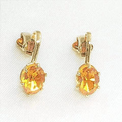 Shop for Clip-On Austrian Crystal Topaz Earrings Gold Tone