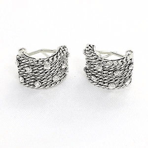 Clip-On Silver Earrings Glittering Accent Dual Function