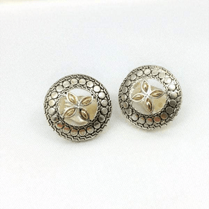 Clip-On Silver Earrings Trebol Round Two Tones Design