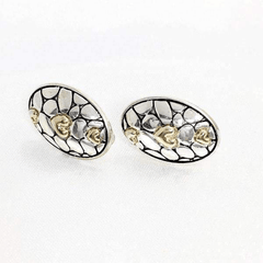 Clip-On Earrings in Cluster Oval Design Two Tones