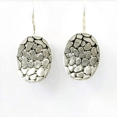 Sterling Silver Oval Drop Earrings Crate Design