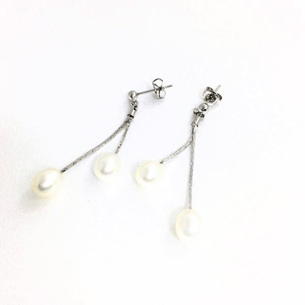 Freshwater Pearl Teardrop 18KT White GP Earrings