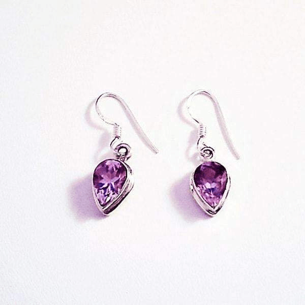 Genuine Amethyst Gemstone Sterling Silver Earrings
