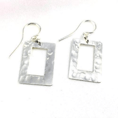 Hammered Rectangular Silver Drop Earrings