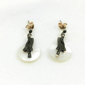 Mother of Pearl Studs Filigree Crystals Earrings