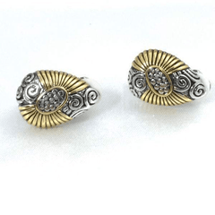 Oval Clip On Gold and Silver Tone Earrings