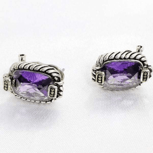 Rectangular Amethyst Crystal Clip and Post Earrings