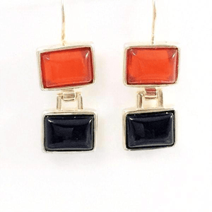 Amber Onyx  Earrings in Sterling Silver