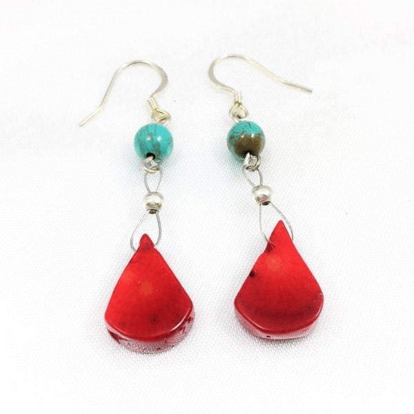 Red Coral Turquoise Teardrop Earrings