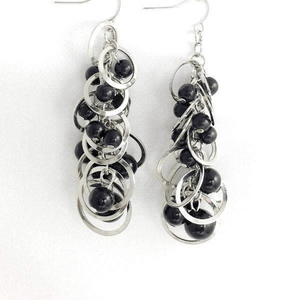 Silver Loop Black Beads Chandelier Earrings