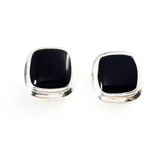 Square Onyx Stone Clip-On  Silver Earrings