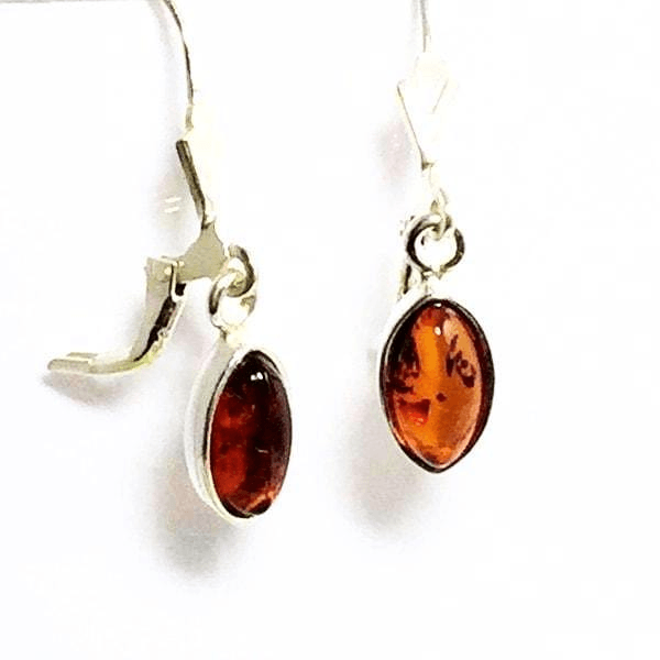 Baltic Amber Earrings Teardrop Sterling Silver