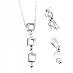 Sterling Silver Square Necklace and Earrings Set