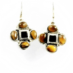 Tiger Eye Stone Trebol Earrings