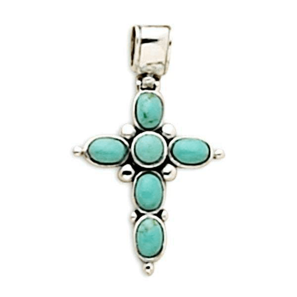 Turquoise Stone Cross Sterling Silver Pendant