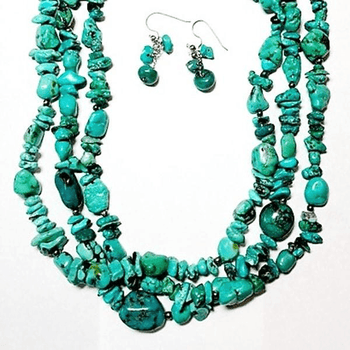 Turquoise Three Strand Necklace and Earrings Set