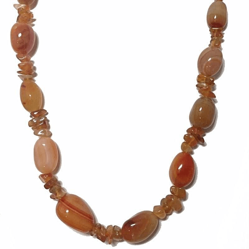 Chunky Necklace Amber Stone Nugget Handcrafted