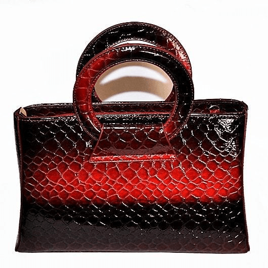 Crocodile Leather Purse Faux Red-Brown Durable