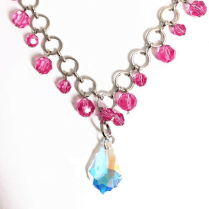 "Stunning Handcrafted 18"" Pink Wired Crystal Necklace"