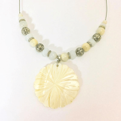 Mother of Pearl Medallion Necklace on a Silver Wire